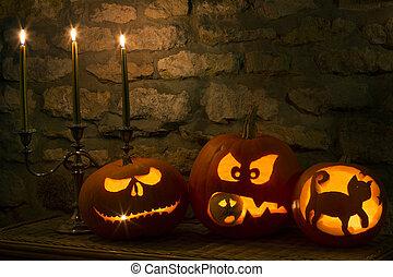 Halloween Pumpkins - Spooky Halloween pumpkins - the night...