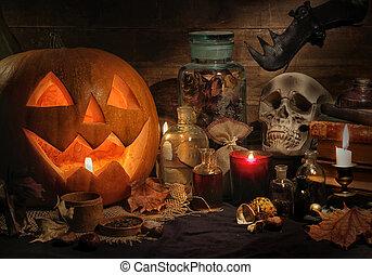 Halloween pumpkins still life close up
