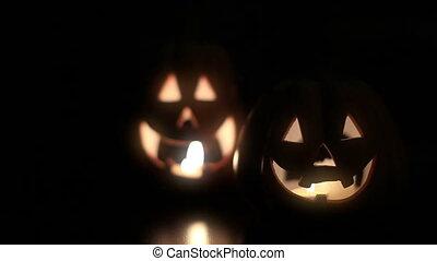 Halloween pumpkins  - Halloween concept with candles
