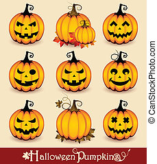 Vector set of nine funny creepy halloween pumpkins, with different facial expression.