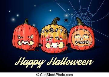 Halloween pumpkins with candles