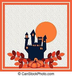 halloween pumpkins with castle scene