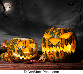Halloween pumpkins with dark sky