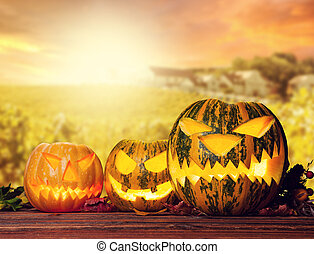 Halloween pumpkins with evening sky on background