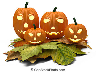 halloween pumpkins with fall leaves isolated on white