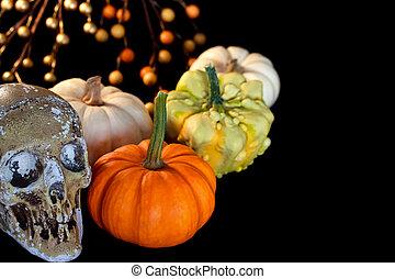Halloween pumpkins with skull