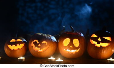 Halloween pumpkins with smoke morphing behind and in front ...