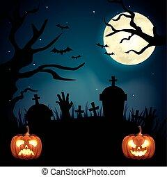 halloween, pumpor, kyrkogård