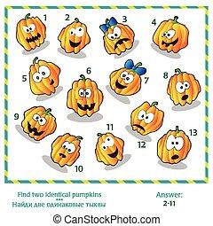 halloween, puzzle, -, deux, visuel, trouver