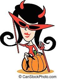 halloween, ragazza, arte, costume, clip