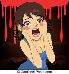 halloween, ragazza, grida