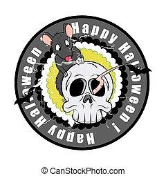 Halloween Rat with Spooky Skull