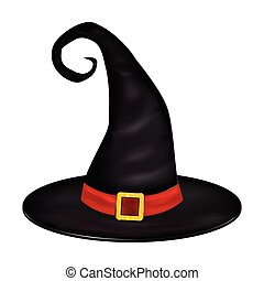Halloween realistic witches hat.