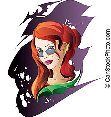 Halloween Red-Haired Witch - The red-haired witch looks at...