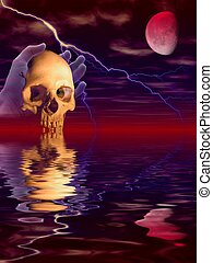 Scary spooky scene with ghost hand holding scull and reflections of red moon