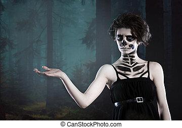 halloween., retrato, de, jovem, bonito, menina, com, maquiagem, esqueleto, ligado, dela, rosto