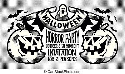 Halloween retro black-and-white invitation