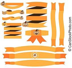 Halloween ribbon with pumpkin vecto
