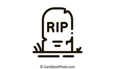halloween rip tombstone Icon Animation. black halloween rip tombstone animated icon on white background