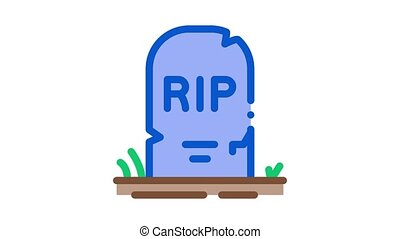halloween rip tombstone Icon Animation. color halloween rip tombstone animated icon on white background