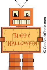 Halloween robot stylized like a pummkin
