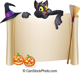 halloween, rotolo, gatto
