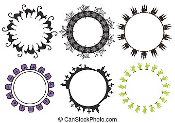 Halloween round frame for text. Isolated on white background. Template for your card design. Vector illustration.