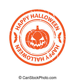 Halloween rubber stamp with pumpkin