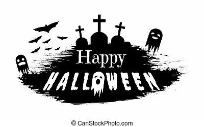halloween, säsongbetonad, baner, typografi, svart, helgdag, besatt, silhuett, vit, lycklig, element, grunge, kort, design, vektor, gravstenar, hälsning, concept., illustration., kyrkogård, gengångare