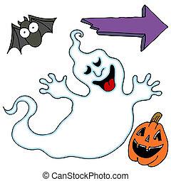 halloween, sätta, tecken