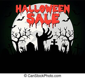 Halloween sale background with hands zombie
