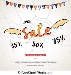 Halloween sale banner grunge background, flying sale bat wings on spider web