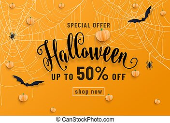 Halloween sale banner, party invitation concept background. Holiday design with bats, spider, cobweb, pumpkin, lettering font text. Paper cut style. Vector illustration