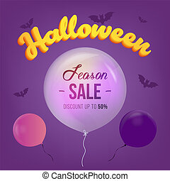 Halloween Sale banner with big 3d letters Sale and holiday symbols with bat and air balloon . Great for banner, voucher, offer, coupon, holiday sale. Vector illustration.