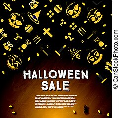 Halloween sale banner with pumpkin.