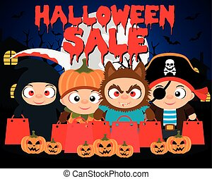 Halloween sale design background with funny kids