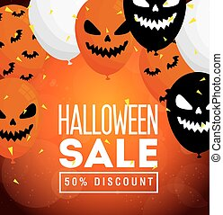halloween sale, fifty percent discount, with scary balloons helium decoration