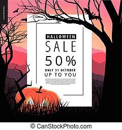 Halloween Sale illustarted notice poster