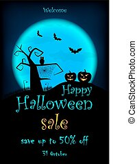Halloween SALE leaflet. Vector halloween design template with pumpkin, owl, bats on blue moon background.