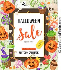 Halloween sale offer design template.Vector background with pumpkin, ghost, candy in flat style. Retro cartoon style illustration