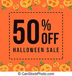 Halloween sale on orange background