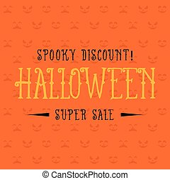 Halloween sale on orange background