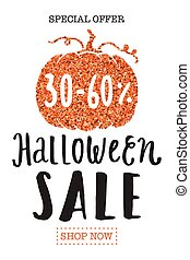Halloween sale promotion flyer template.