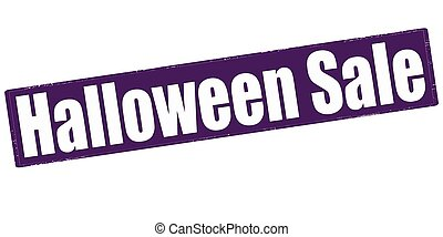 Stamp with text halloween sale inside, vector illustration