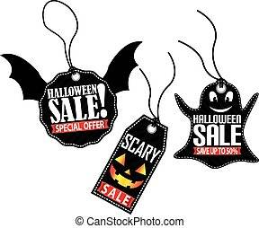 Halloween sale tag set, vector illustration