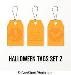 Halloween sale tags set vector isolated templates.