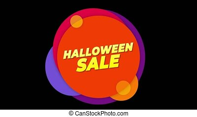 Halloween Sale Text Sticker Colorful Sale Popup Animation.