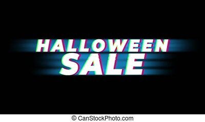 Halloween Sale Text Vintage Glitch Effect Promotion .