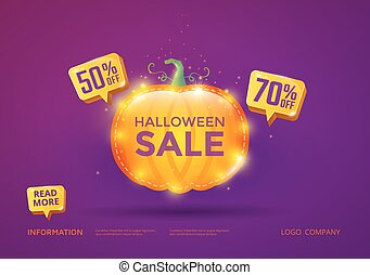 Halloween Sale vector banner