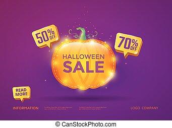 Halloween Sale vector banner
